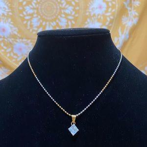 Two tone faux diamond necklace ☺️